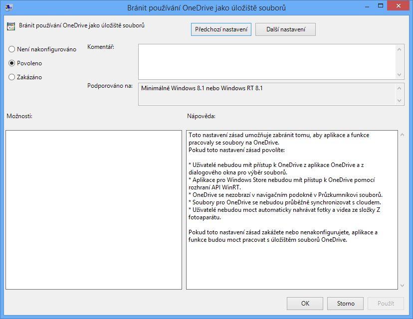Povolení Bránit používání OneDrive jako uložiště souborů