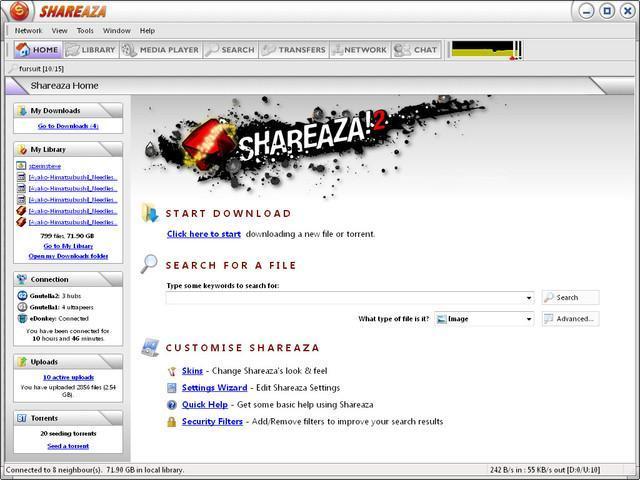 Shareaza - rychlé a spolehlivé sdílení dat