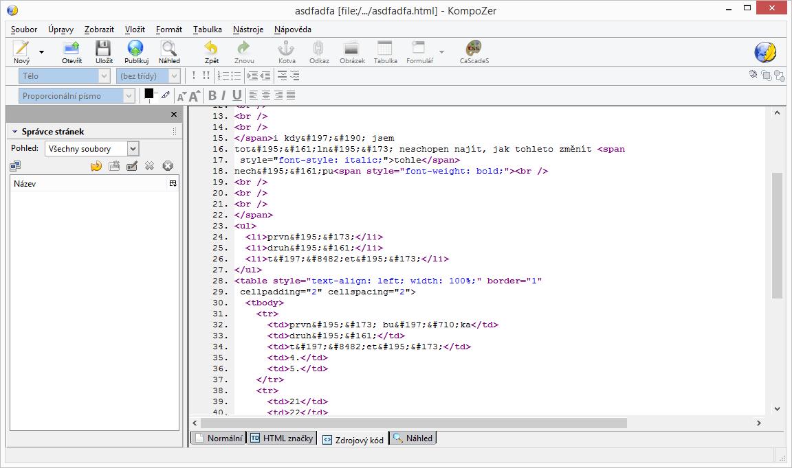 KompoZer: překlad formátování do kódu