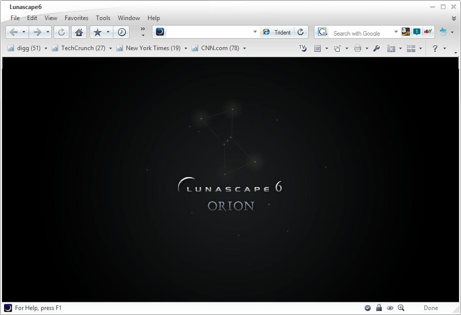Výchozí obrazovka Lunascape