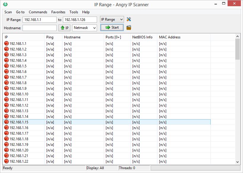 Angry IP Scanner: výsledky skenování