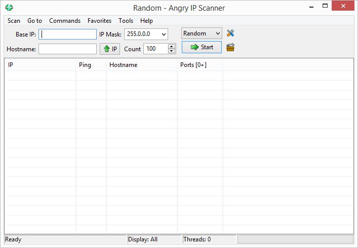 Výchozí obrazovka Angry IP Scanneru