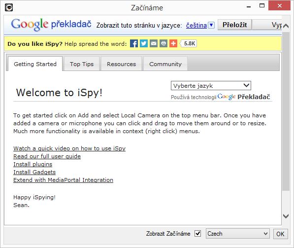 iSpy: Začínáme + nastavení češtiny