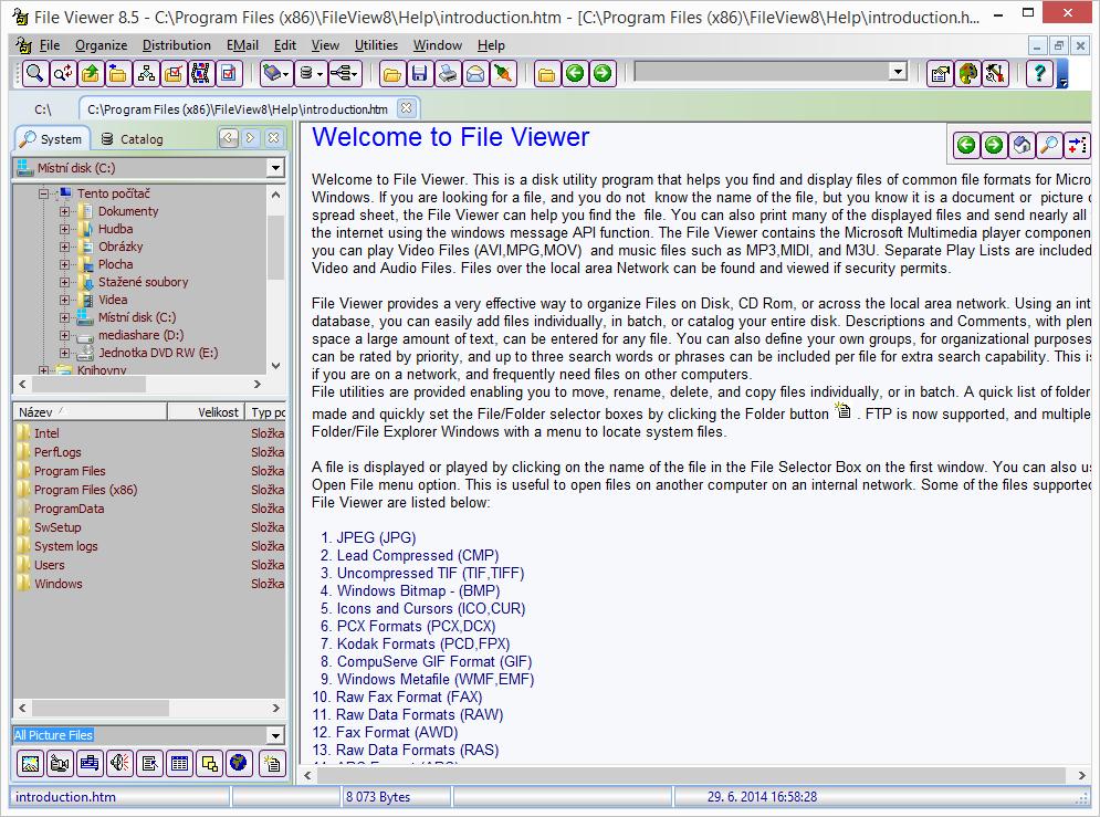 Výchozí obrazovka File Viewer