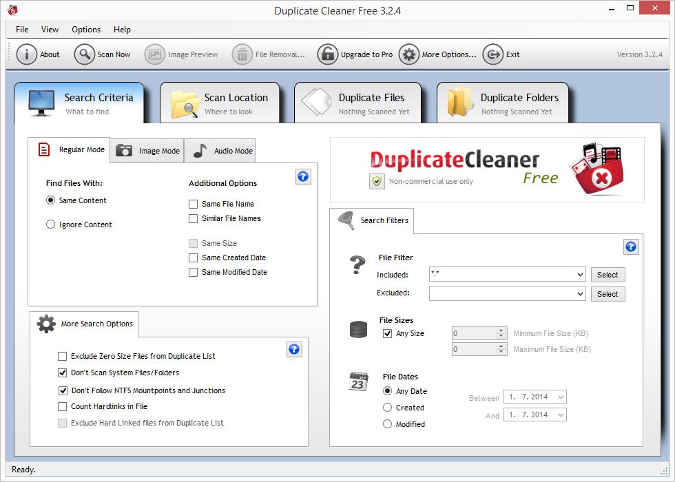 Výchozí obrazovka Duplicate Cleaner