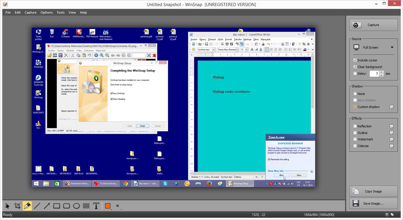 Výchozí obrazovka WinSnap se snímkem plochy