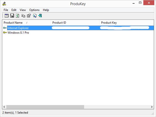 Rozhraní ProduKey