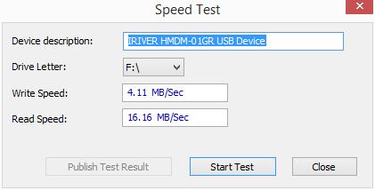 Test rychlosti v USBDeview