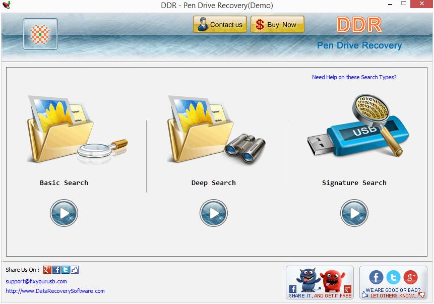 Výchozí obrazovka USB Drive Recovery