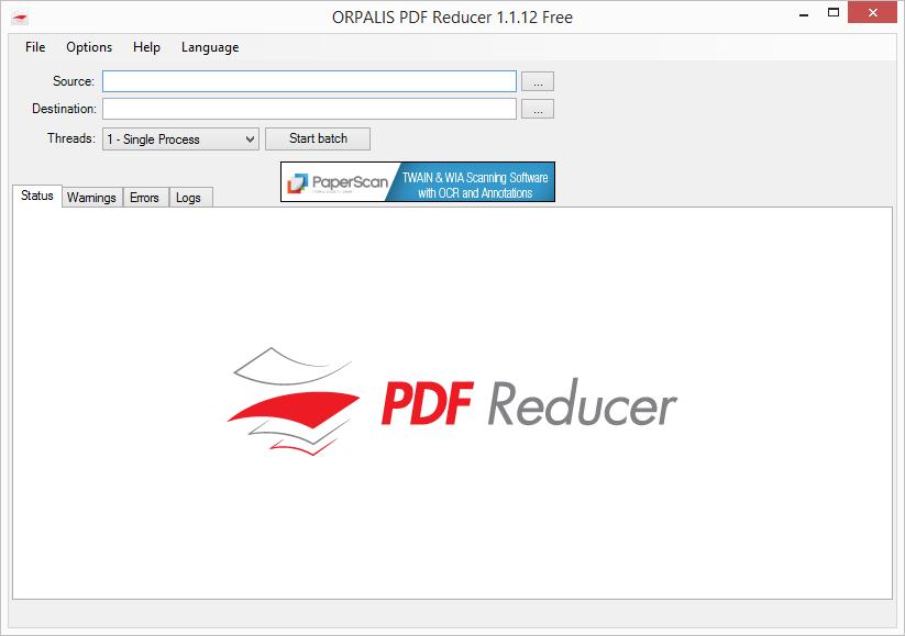 Výchozí obrazovka PDF Reducer