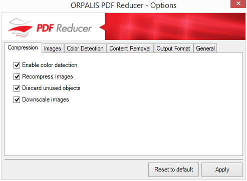 Podrobná nastavení PDF Reducer