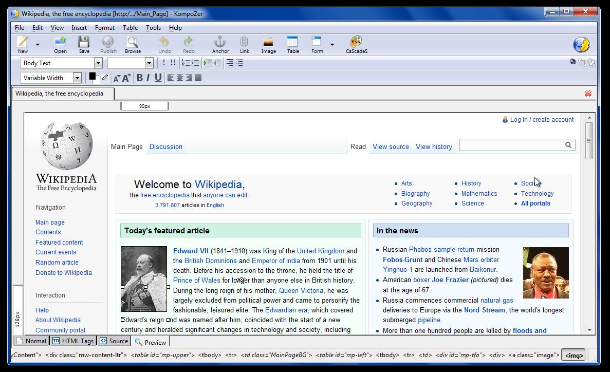 Kompozer - tvorba webových stránek