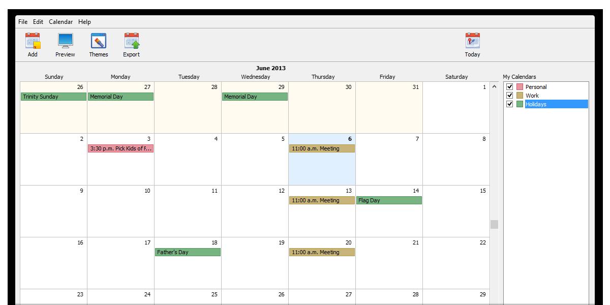 CoffeeCup Web Calendar - webový kalendář