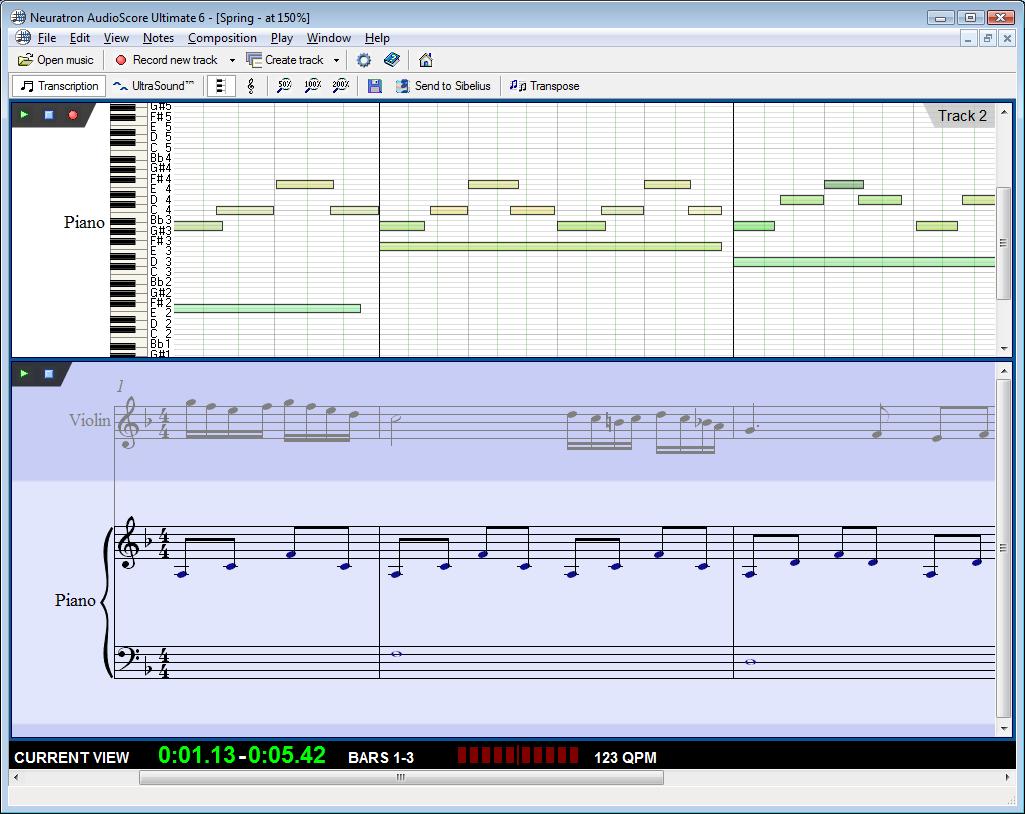 AudioScore Ultimate - převádění audio stop