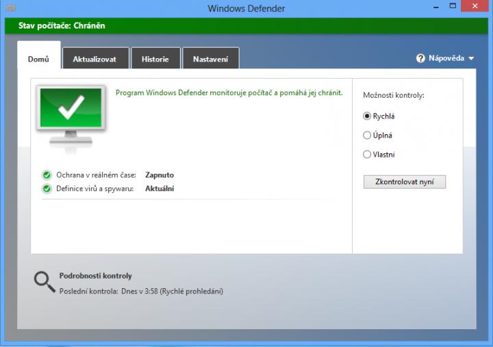 Windows Defender - hrané odstraňování spyware