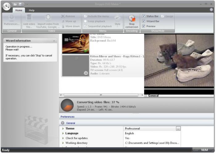 Droppix DVD Maker - nástroj na převod a vypalování DVD souborů