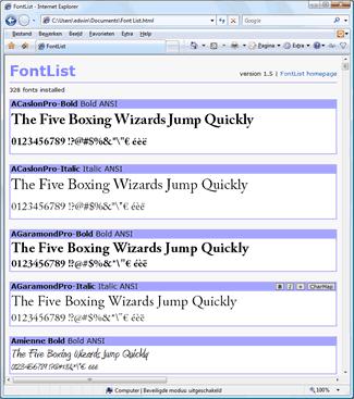 FontList - snadný pomocník na prohlížení fontů