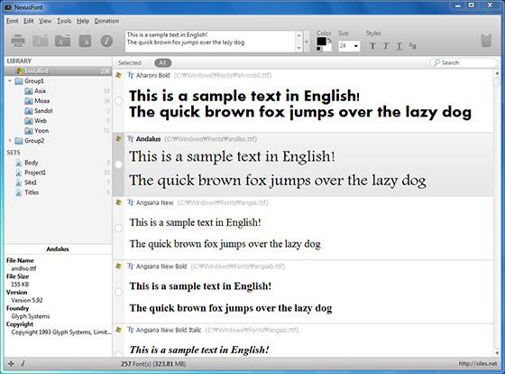 NexusFont - prohlížeč a správce fontů ve vašem počítači