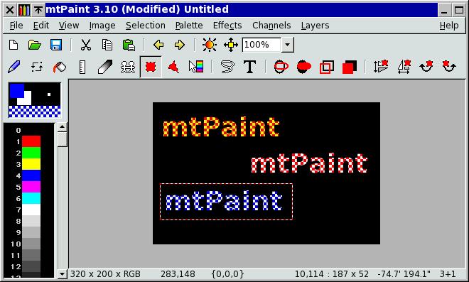 mtPaint - jednoduché kreslení a manipulace s obrázky