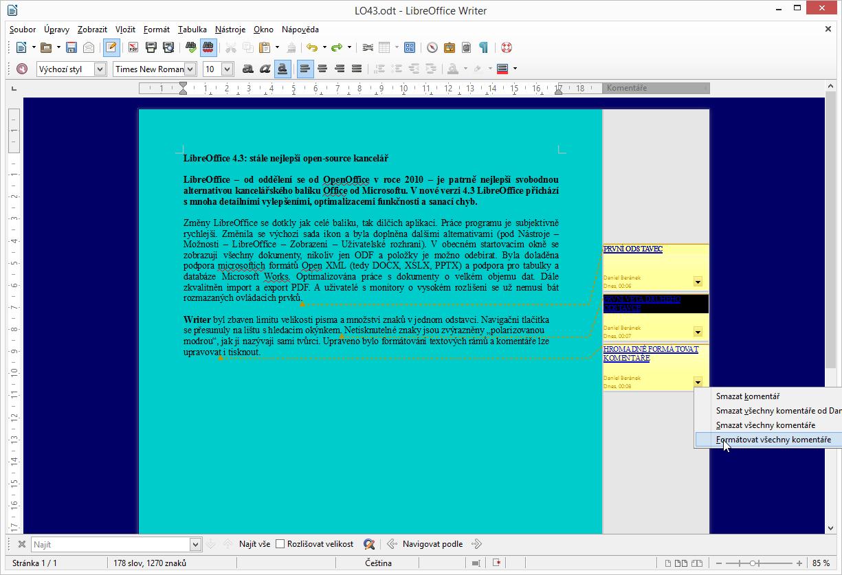 LibreOffice 4.3: možnost hromadného formátování komentářů