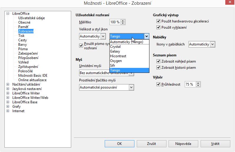 LibreOffice 4.3: výběr sady ikon