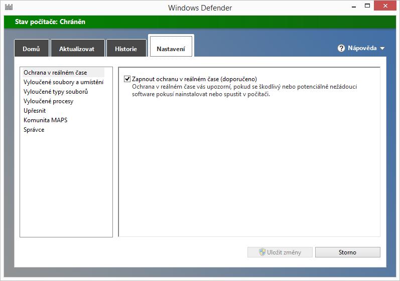 Windows Defender: možnosti nastavení