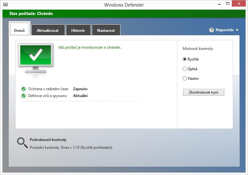 Výchozí obrazovka Windows Defender