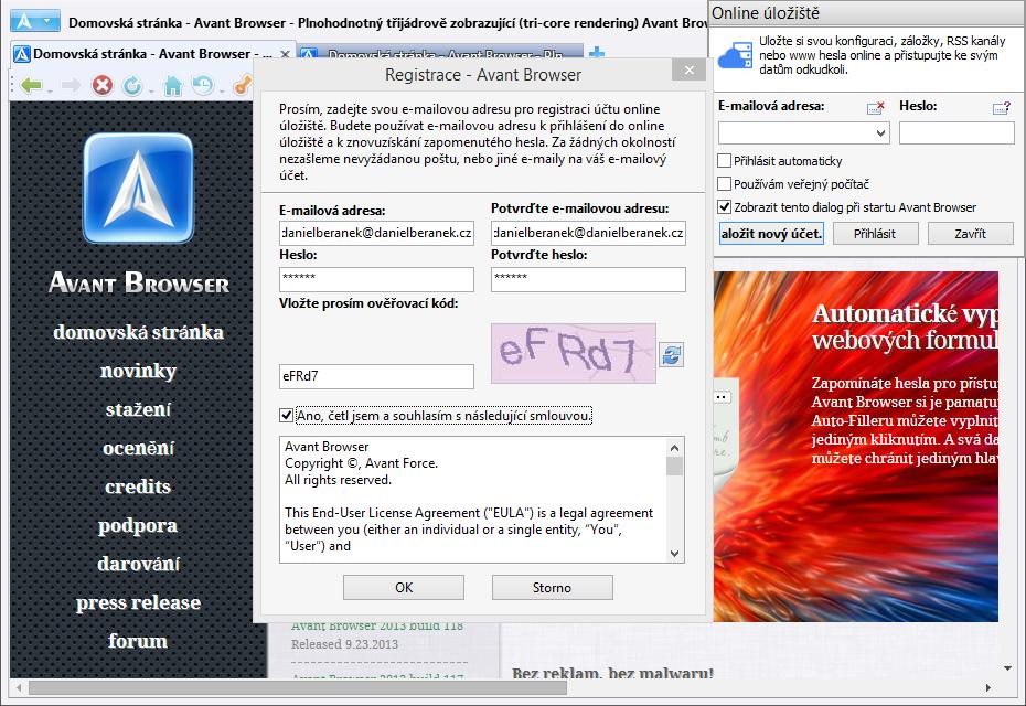 Registrace do Online úložiště Avant Browseru