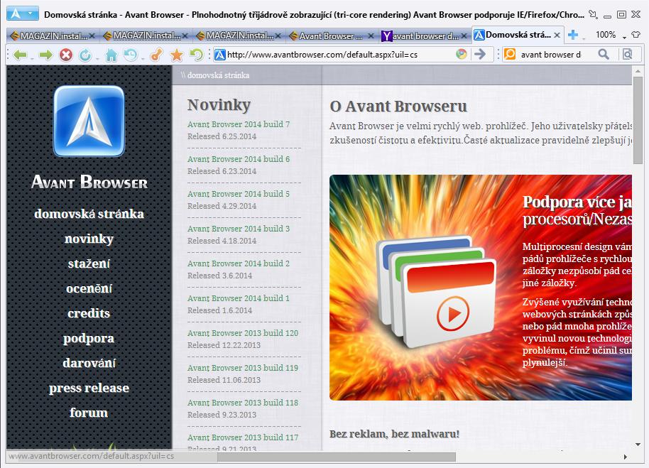 Minimalistické pojetí rozhraní Avant Browseru