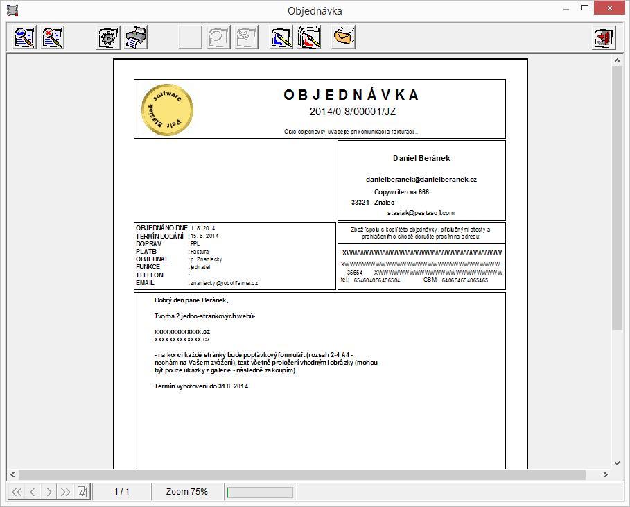 Objednávka připravená k tisku/exportu do PDF