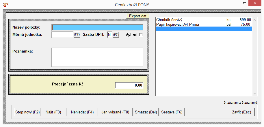 Ceník zboží Fakturace Pony