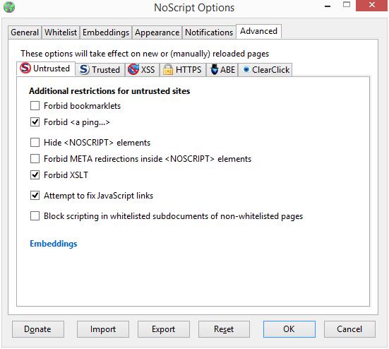 Nastavení rozšíření NoScript