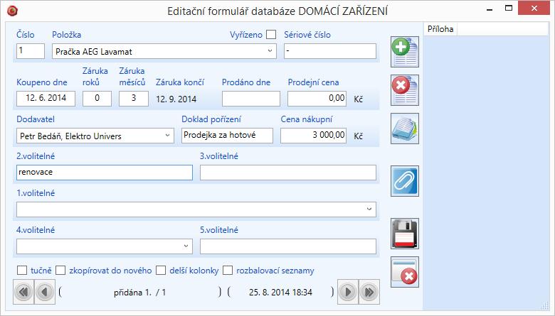 Editační formulář aktivní databáze