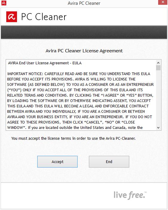 Avira PC Cleaner: licenční podmínky