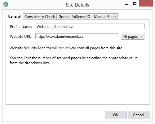 Detailní nastavení monitorovaného webu