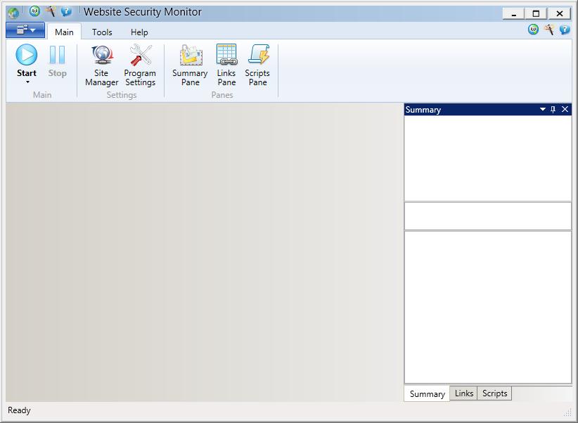 Výchozí rozhraní Website Security Monitor