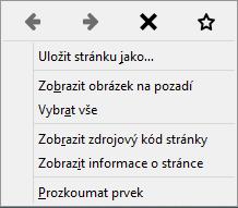 Firefox 32: pás ikon v kontextovém menu