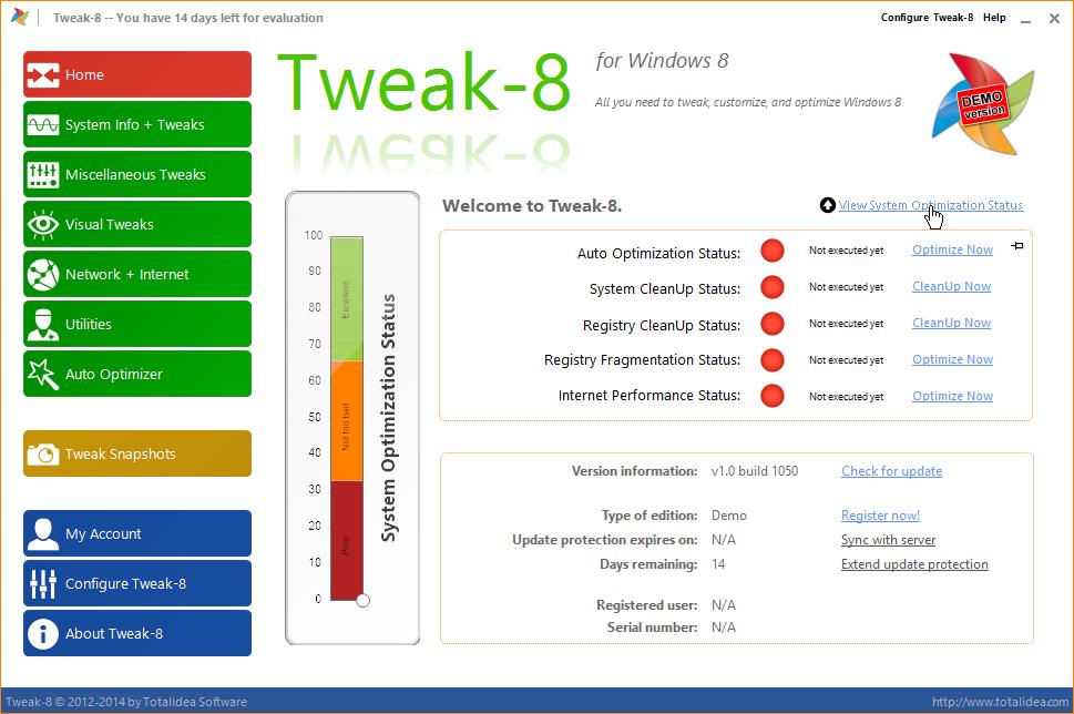 Tweak-8: Stav optimalizace systému