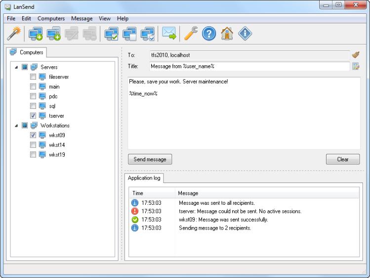 LanSend - hromadné rozesílání zpráv přes LAN