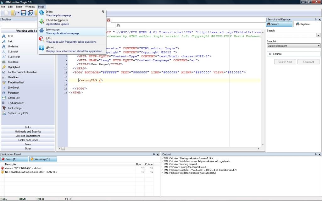 HTML Editor Yugie - jednoduchý a moderní HTML editor