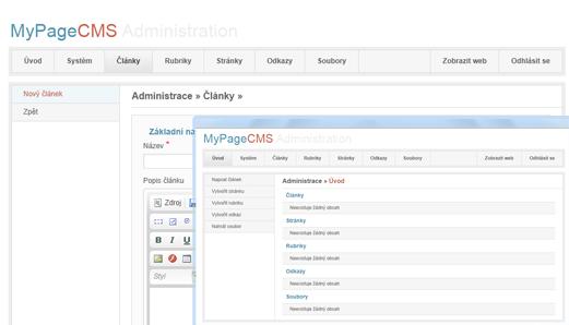 MyPage CMS - jednoduchý redakční systém pro každého