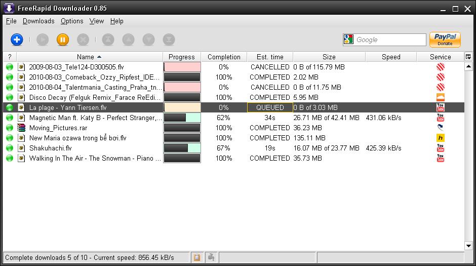 FreeRapid Downloader - pohodlné stahování souborů z internetu
