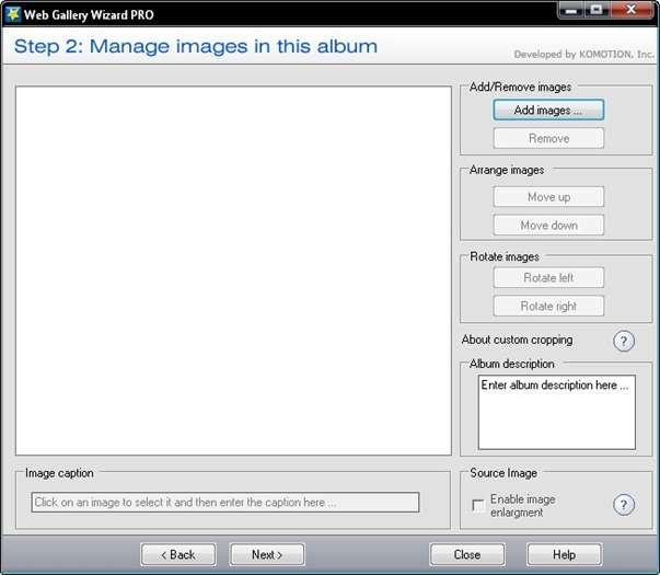 Web Gallery Wizard - vytvořte si vlastní internetovou galerii fotografií