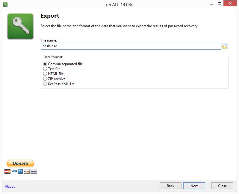 recALL: možnosti exportu získaných hesel a produktových klíčů