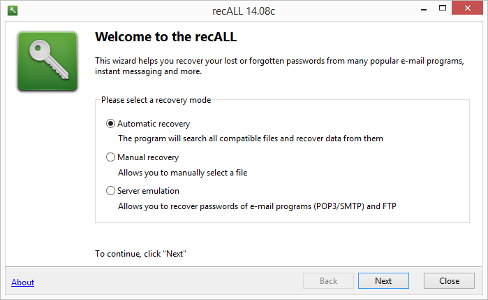 recALL: výchozí rozhraní programu