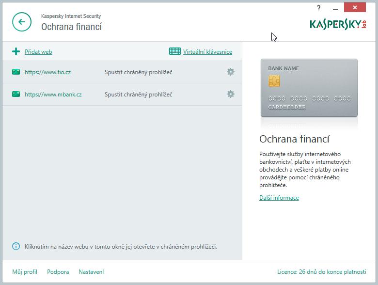 Kaspersky Internet Security Multi-Device: modul ochrany financí