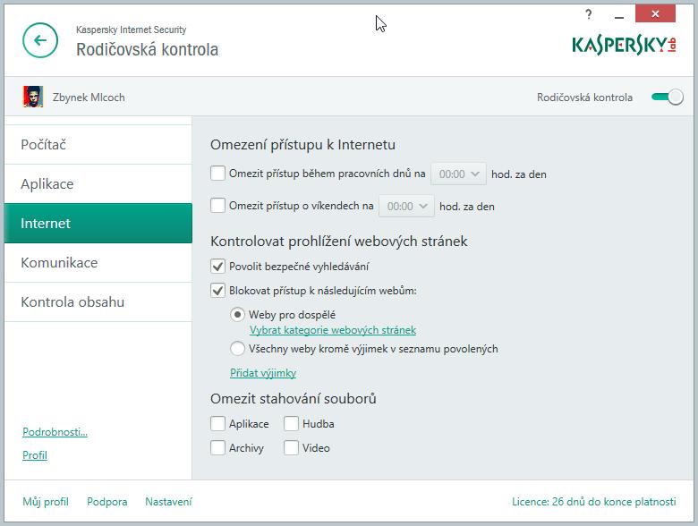 Kaspersky Internet Security Multi-Device: Rodičovská kontrola