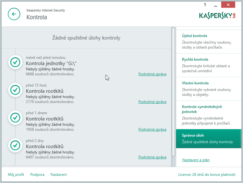 Kaspersky Internet Security Multi-Device: nastavení kontrol
