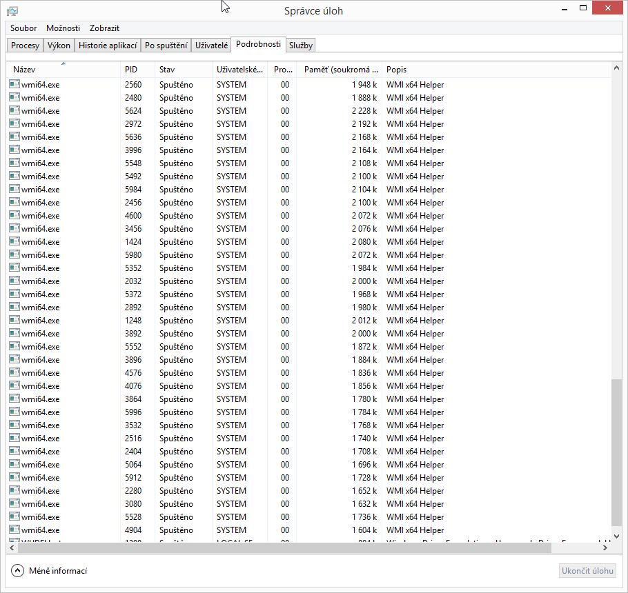 Kaspersky Internet Security Multi-Device: na šedesát procesů WMI x64 Helper