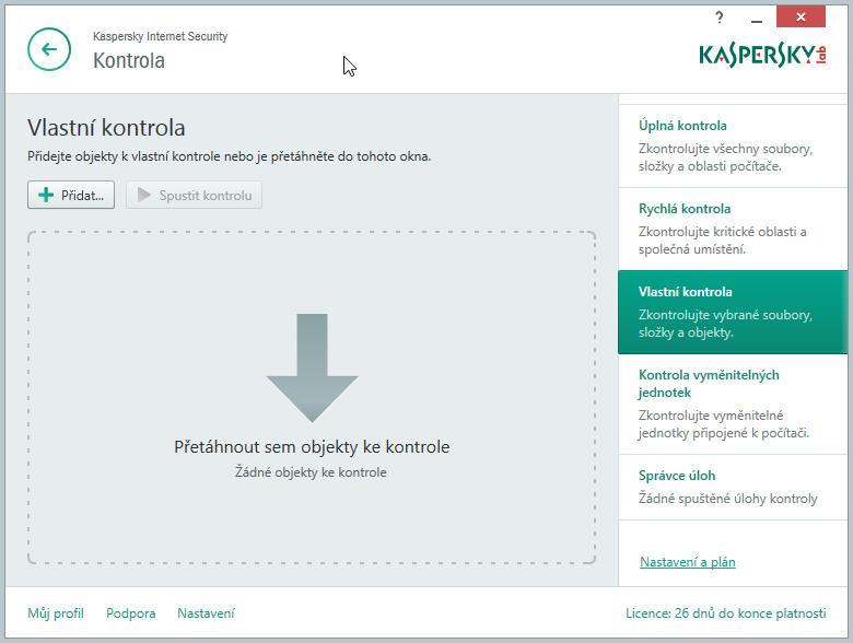 Kaspersky Internet Security Multi-Device: možností nastavení různých kontrol